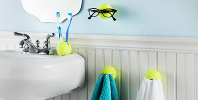 Tennis Ball Holders in Bathroom